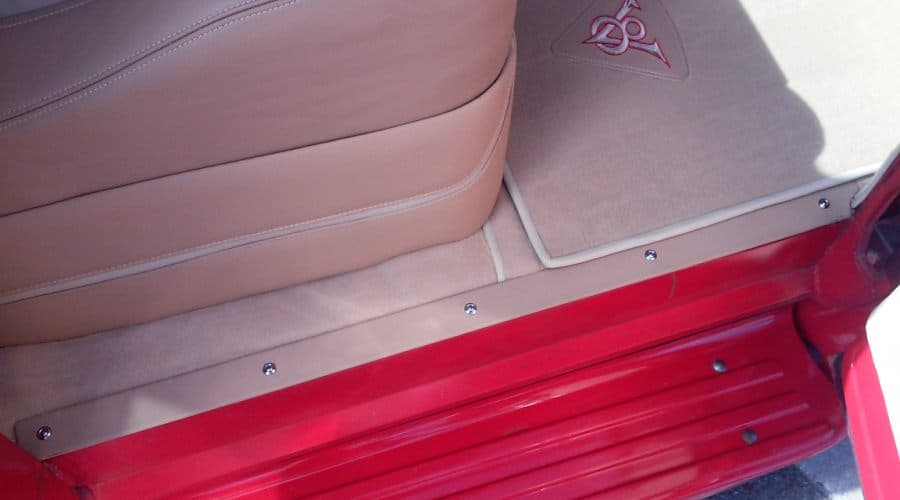 Lower Seat Leather Trim Panel With Matching Leather Wrapped Door Sill Trim Plates