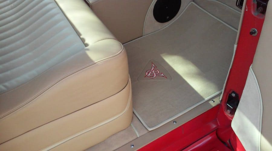 Matching Custom Floor Mats With V8 Embroidered Leather Insert